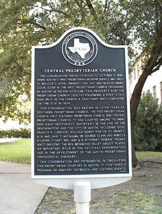 State of Texas Historical Marker in front of Central Presbyterian Church